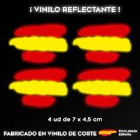 4X BANDERA ESPAÑA REFLECTANTE PEGATINA STICKER VINILO COCHE ADHESIVO MOTO CASCO