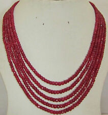 """Red ruby abacus Beads necklace 17-21"""" Stunning 5-row 2x4 mm natural faceted"""