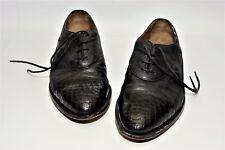 R Martegani Beautiful Black Leather/Crocodile Shoes  US Size 9.5 M/D Rare