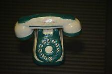 Salt Pepper Shakers Telephone Green White Rotary Dial Mid Century Kitsch Japan