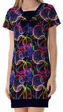 Fishes Bubble Women Lady V Neck Splicing Bow Dress b6 acc02908