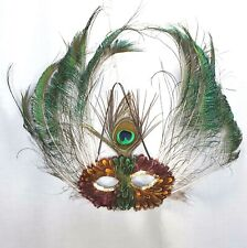 Masquerade Feather Eye Mask Mardi Gras Halloween Party Gold Whispy Peacock