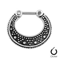 1pc Dotted Tribal Pattern Septum Clicker 316L Surgical Steel 16g Nose Ring