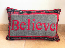 """BELIEVE Rectangular Holiday Christmas Pillow Red & Black Plaid 22"""" x 14"""""""