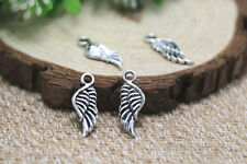 50pcs MINI angel wing charm Antique Tibetan Silver 2 sided wing pendants 21x7mm