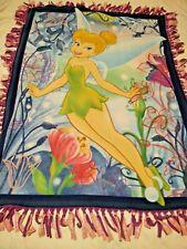 Fleece Handmade Tinkerbell Pink Plaid Hand-Tied Blanket Throw 48X38+Fringe
