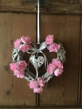 Wicker Heart Floral Shabby Chic Country Farmhouse Pink Roses