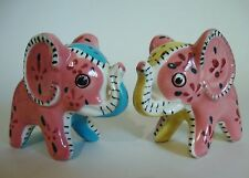 Vintage Stitched and Flowered Pink Elephant Salt and Pepper Shakers
