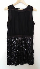 Ladies Womens Black sequin Designer Prom Dress  Size M