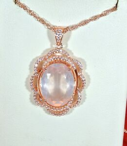 "LARGE ROSE QUARTZ 15X11 SET IN  ROSE GOLD OVER 925 S.S. PENDANT & 20"" WAVY CHAIN"