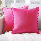 2x Pom Poms Cushion Covers Soft Cozy Velvet Pillow Case Sofa Home Decor 45cm