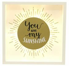 Gold Light Up Box Frame LED Wall Plaque 20X3X20CM ~ You Are My Sunshine