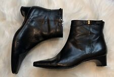 Etienne Aigner Womens Size 7 Classic Black Square Toe Leather Ankle Boots