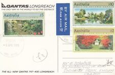 P 1407 Australia Vic April 1999 airmail postcard to Uk; $17 stamps!