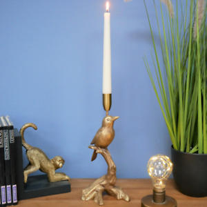 Golden Bird on a Branch Decorative Candlestick Holder for Taper Candle