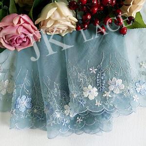 15 cm width Pretty Pale Blue Embroidery mesh Lace Trim