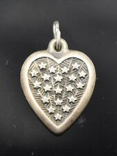 Vintage Sterling Silver 925 Repousse Field of Stars Puffy Heart Charm