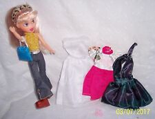 """FASHION DOLL 9-1/2"""" BROWN BOOTS + 3 DRESSES + SHOES :BRATZ LOOK ALIKE : 3+ yrs."""