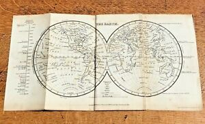 1837 small map of the earth ! published by sherwood gilbert & piper