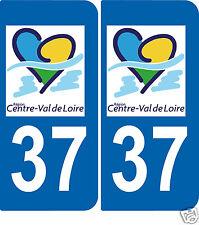 2 autocollants Style plaque immatriculation auto Département 37