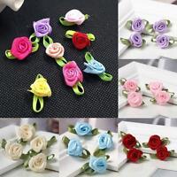 100pcs Mini Satin Ribbon Rose Flower Leaf Wedding Decor Appliques Sewing DIY