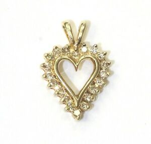 10k yellow gold .20ct SI1 H round diamond heart pendant 1.3g estate vintage