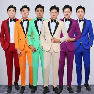 Men Formal Suits Slim Fit Blazers Party Wedding Costume Jacket Pants Set Solid