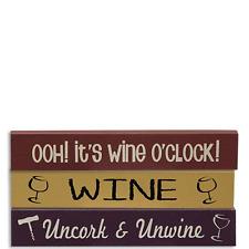 Set/3 Mini Rustic Signs~Wine~It's Wine O'Clock Uncork & Unwine~Country blocks