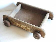 Original Vintage Playskool Coloral Wood Wagon Pull Toy 1950s worn Free Sh