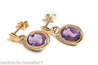 9ct Gold Amethyst oval Drop earrings Gift Boxed Made in UK Christmas Gift