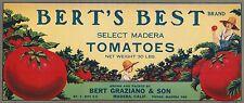 "RARE OLD ORIGINAL 1930 ""BERT'S BEST BRAND"" TOMATOES BOX LABEL MADERA CALIFORNIA"