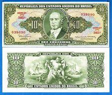 Brazil Banknotes 10 Cruzeiros 1974 pic193B UNCIRCULATED D PEDRO II