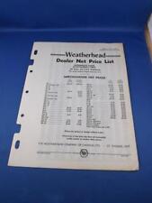 WEATHERHEAD DEALER NET PRICE LIST AUTOMOTIVE CAR TRUCK PART ST THOMAS ONT 1959