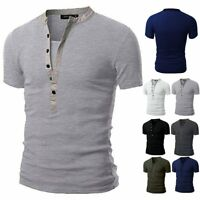 Men's Slim Fit V Neck Short Sleeve Muscle Tee Shirts Casual T-shirt Tops Blouse