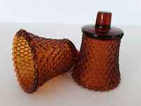 "2 Vtg Amber Glass Hobnail Peg Votive Cups Candle Holders Homco Sconce 3.75"" EUC"