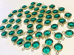 Open Bezel Austrian Swarovski Crystal Beads Teal/Aquamarine 9mm 28 Piece
