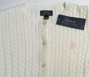 Polo Ralph Lauren Big Girl's Cable Knit Cardigan Warm White Size M(8-10) NWT