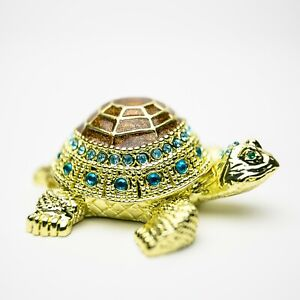 Colored turtle Trinket box hand made by Keren Kopal & Austrian crystals Faberge