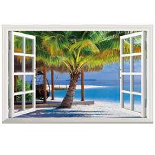 Beach resort 3D Window View Removable Wall Sticker Art PVC Decal Decor Mural #fx