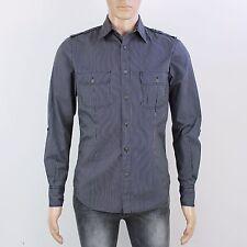 Topman Mens Size S Grey Charcoal Stripe Long Sleeve Shirt