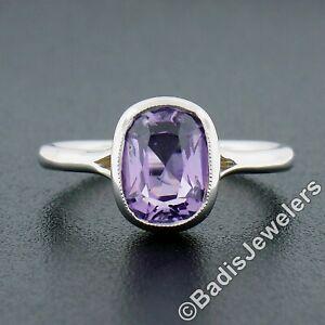 18k White Gold GIA 2.13ctw NO HEAT Cushion Ceylon Purple Sapphire Solitaire Ring