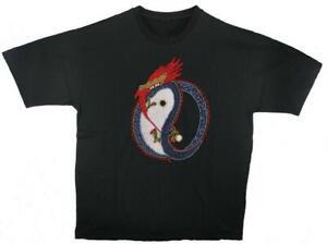 Black Yin Yang Dragon T-Shirt  - XL ... tai chi, t'ai chi