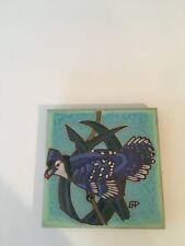 "Pacific Blue Tile ""Blue Jay"" Usa Hand Painted 6"" Tile Trivet"