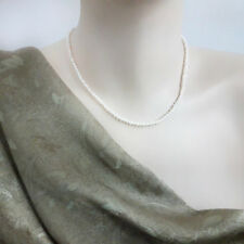 3 mm, Freshwater Pearl Necklace  Natural White Pearl - 40 cm + extension