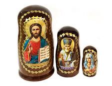 Christ the Teacher St Saint Nicholas St Mary Icon Doll Matryoshka 3 Dolls Gift