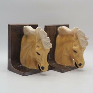 Vintage Set Ceramic Horse Head Bookends Book Ends