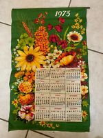 """Vintage 1973 Cloth Tapestry Wall Calendar 28 """" X 16"""" Green w Sunflowers!"""