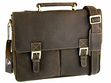 Briefcase Messenger Bag Real Leather Oiled Brown Large Visconti Berlin 18716