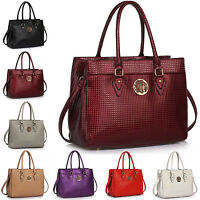 New Patent Faux Leather Ladies Women Shoulder Bag Cross Body Handbag Tote Strap