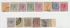 CYPRUS 1921 - 1923   ISSUE  USED STAMPS  SG.85/88+90/98 = SCOTT 72/75+77/85
